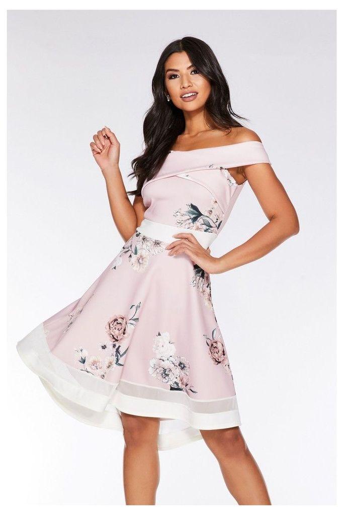 Womens Quiz Floral Wrap Front Dip Hem Dress -  Pink