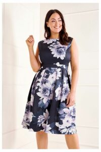 Womens Mela London Curve Floral Print Prom Dress -  Black