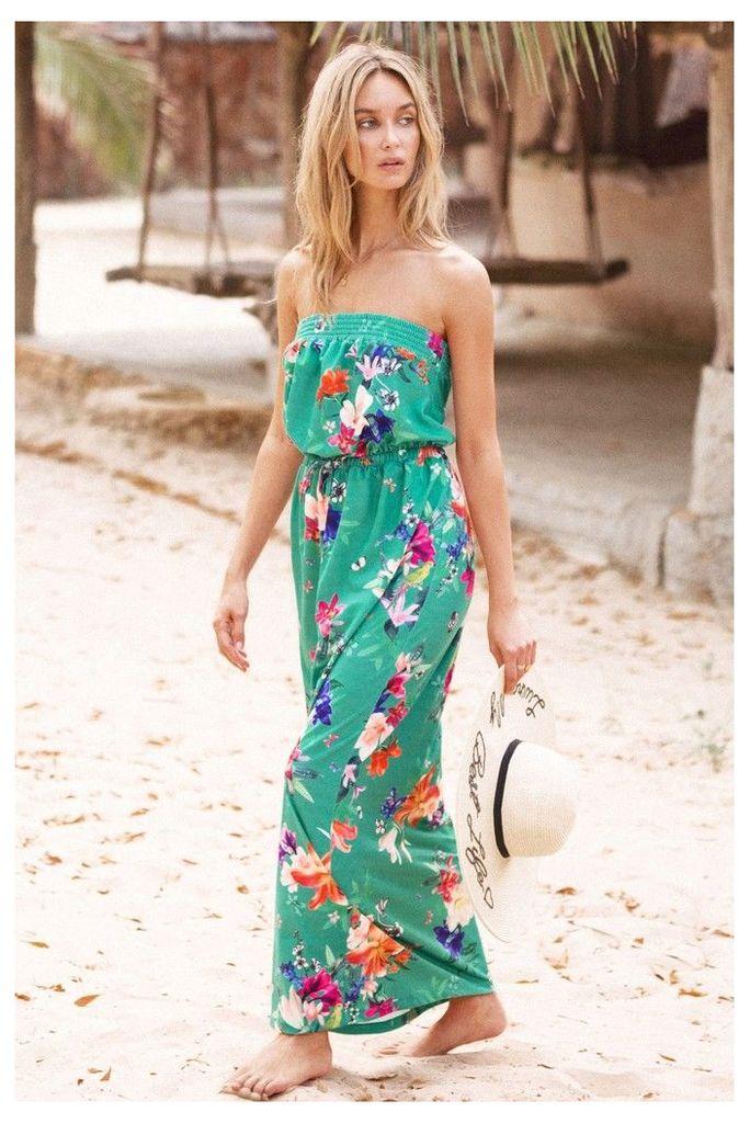 Lipsy Floral Maxi Dress - 16 - Green