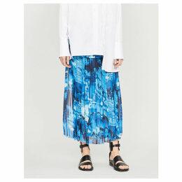 High-waist pleated printed crepe midi skirt