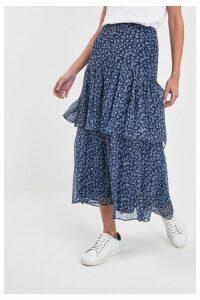 Womens Lauren Ralph Lauren Navy Floral Aubrianna Skirt -  Blue