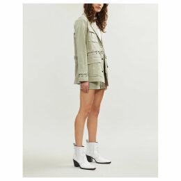 Teagan lace-up cotton-blend utility jacket