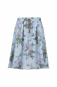 A-line skirt in lightweight floral-printed cotton