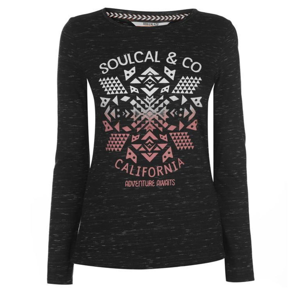 SoulCal Nav Long Sleeve T Shirt Ladies