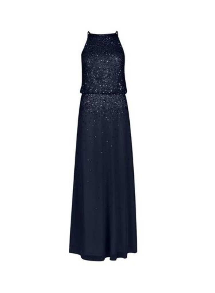 Womens **Showcase Navy Embellished 'Ava' Maxi Dress- Blue, Blue