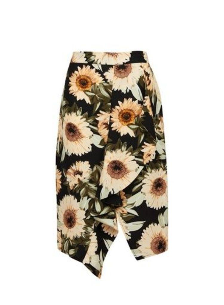 Womens Multi Sunflower Print Ruffle Pencil Skirt- Yellow, Yellow