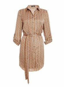 Womens *Quiz Stone And Cream Geometric Print Shirt Dress- Stone, Stone
