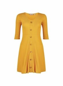 Womens Petite Yellow Ribbed Dress- Orange, Orange