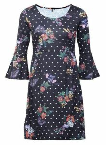 Womens *Izabel London Black Floral And Polka Dot Print Dress- Black, Black