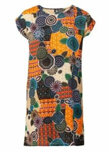 Womens *Izabel London Orange Mosaic Print Dress- Orange, Orange