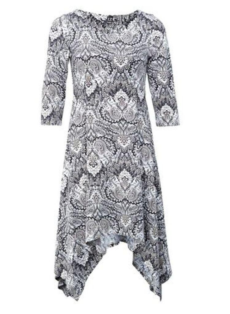 Womens *Izabel London Beige Paisley Print Hanky Hem Dress- Beige, Beige