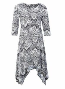 Womens *Izabel London Beige Paisley Print Hanky Hem Dress- Beige, Beige