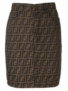 Fendi Pre-Owned FF logo mini skirt - Brown