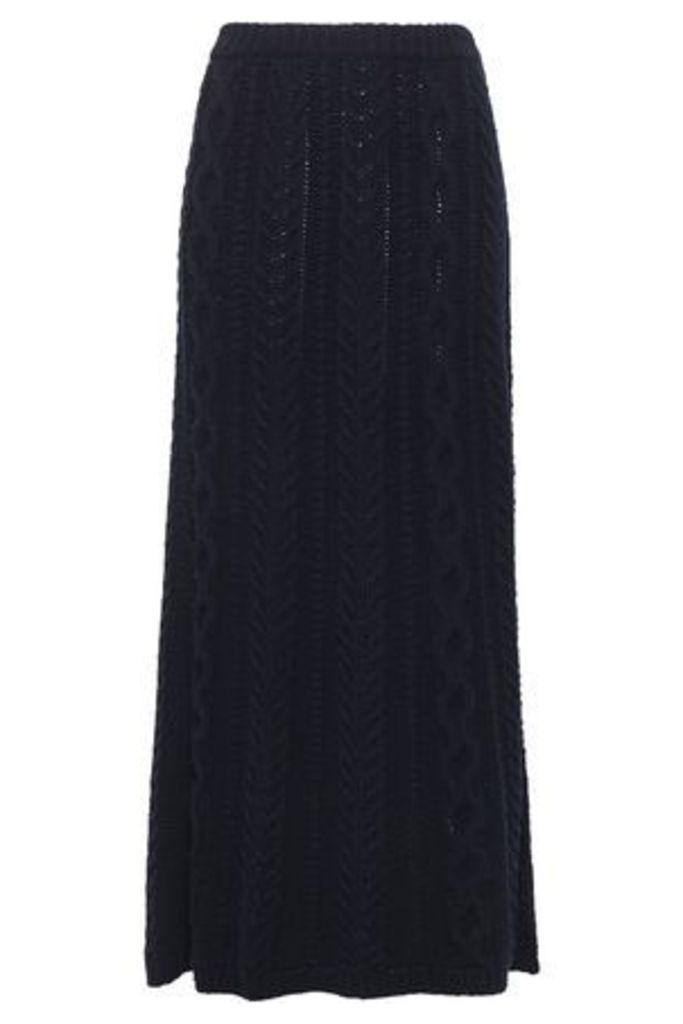 Valentino Garavani Woman Cable-knit Wool And Cashmere-blend Wrap Maxi Skirt Midnight Blue Size S