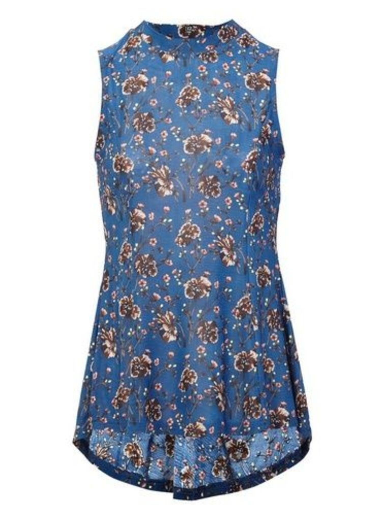 Womens *Izabel London Blue Ditsy Print Peplum Top- Blue, Blue