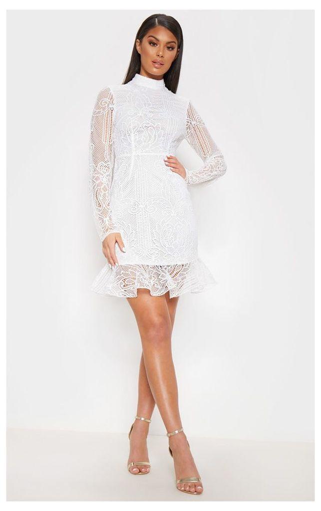 White Lace High Neck Bodycon Dress, White
