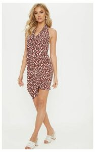 Brown Leopard Print Halterneck Swing Dress, Brown