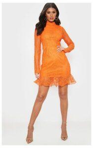 Bright Orange Lace High Neck Bodycon Dress, Bright Orange
