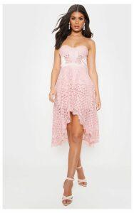 Rose Lace Bandeau Dipped Hem Midi Dress, Pink