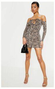 Tan Tiger Print Slinky Lattice Detail Bodycon Dress, Brown