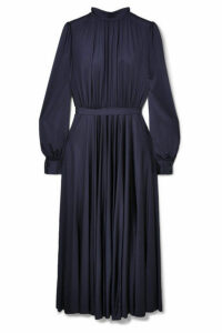 Co - Gathered Stretch-sateen Midi Dress - Navy
