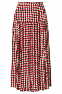 RIXO - Tina Pleated Houndstooth Silk Crepe De Chine Midi Skirt - Red