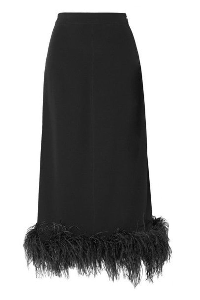Co - Feather-trimmed Crepe Midi Skirt - Black