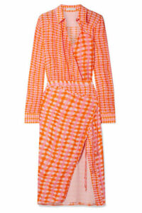 Altuzarra - Constantina Wrap-effect Checked Silk Crepe De Chine Midi Dress - Orange