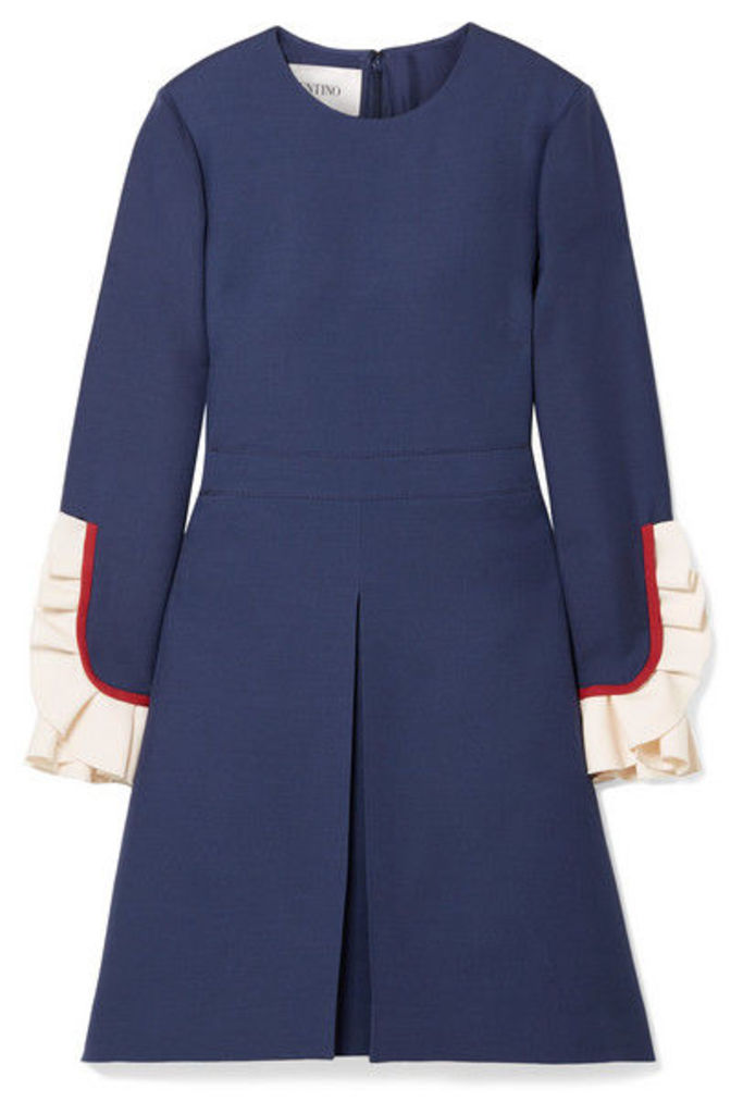 Valentino - Ruffle-trimmed Wool And Silk-blend Mini Dress - Blue