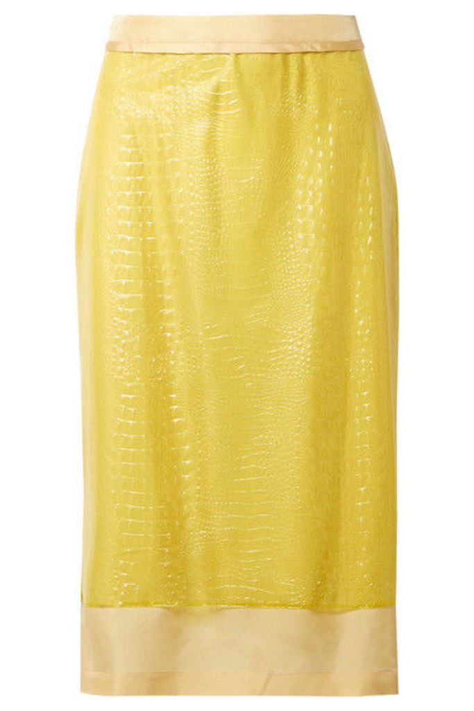 Sies Marjan - Sula Layered Croc-effect Vinyl And Silk-satin Midi Skirt - Yellow