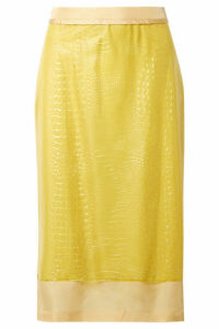 Sies Marjan - Sula Layered Croc-effect Vinyl And Silk-satin Midi Skirt - Yellow