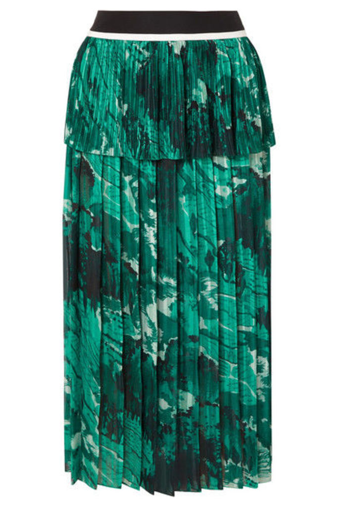 Victoria, Victoria Beckham - Tiered Printed Plissé-crepe Midi Skirt - Forest green