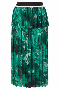 Victoria, Victoria Beckham - Tiered Printed Plissé-crepe Midi Skirt - Forest green