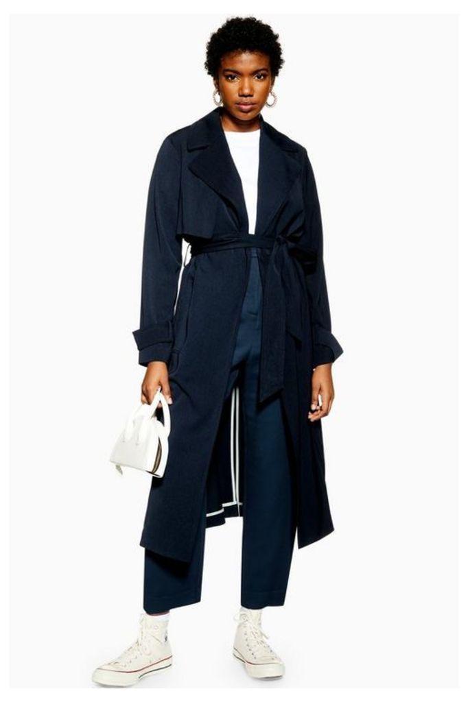 Womens Silky Crepe Duster Coat - Navy Blue, Navy Blue