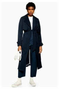 Womens Silky Crepe Duster Coat - Navy Blue, Navy Blue