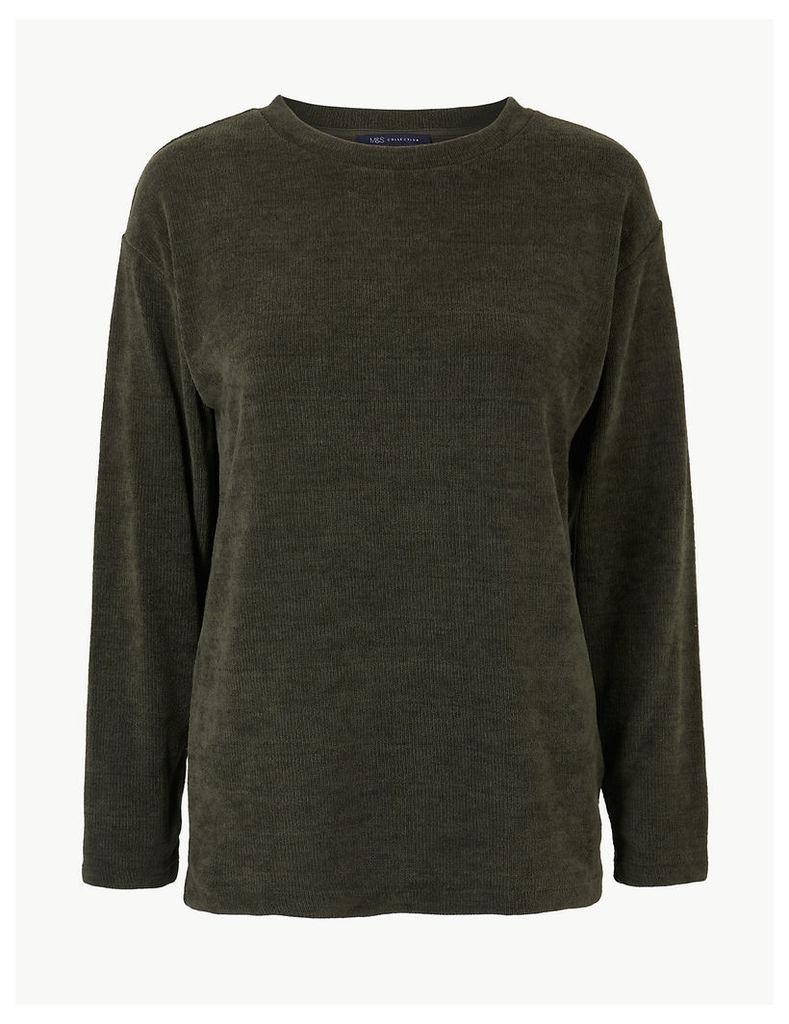 M&S Collection Textured Round Neck Long Sleeve Sweatshirt