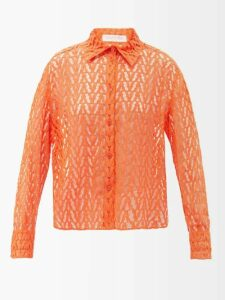 Eckhaus Latta - Single Breasted Boiled Wool Blend Coat - Womens - Red