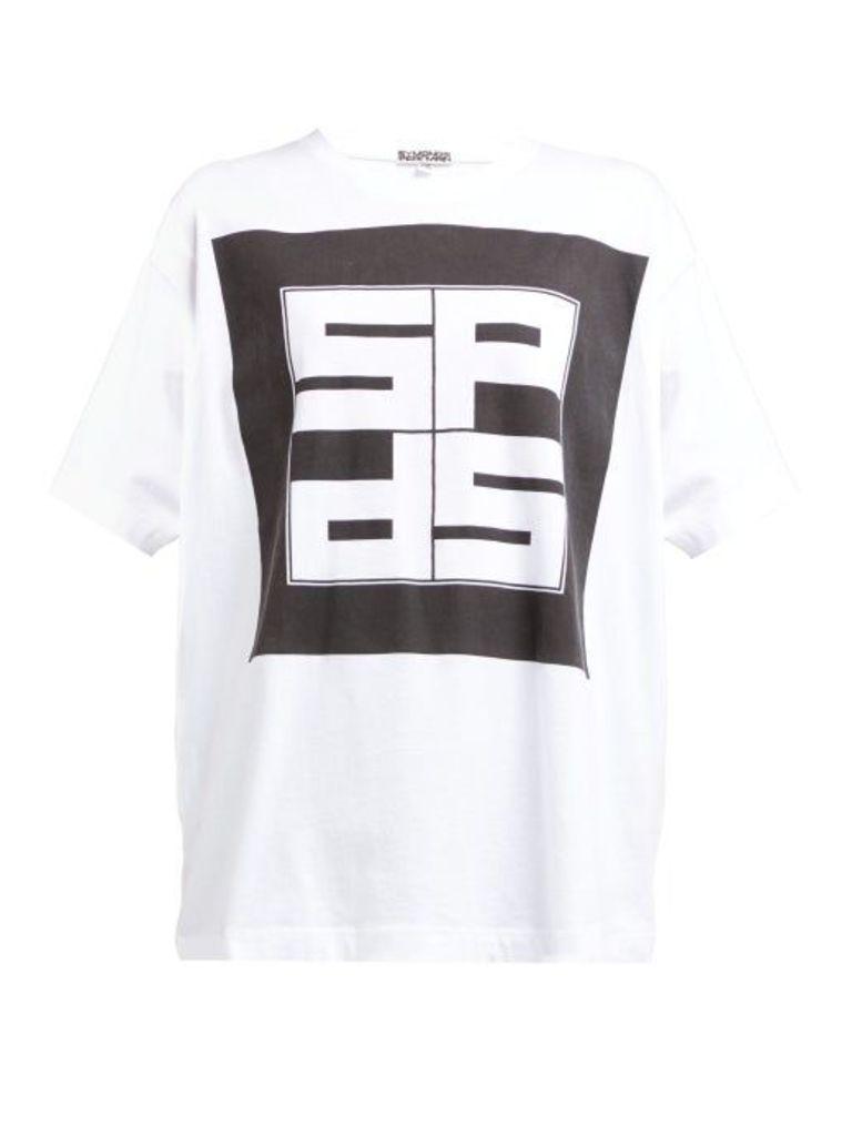 Symonds Pearmain - Logo Print Cotton T Shirt - Womens - White Black