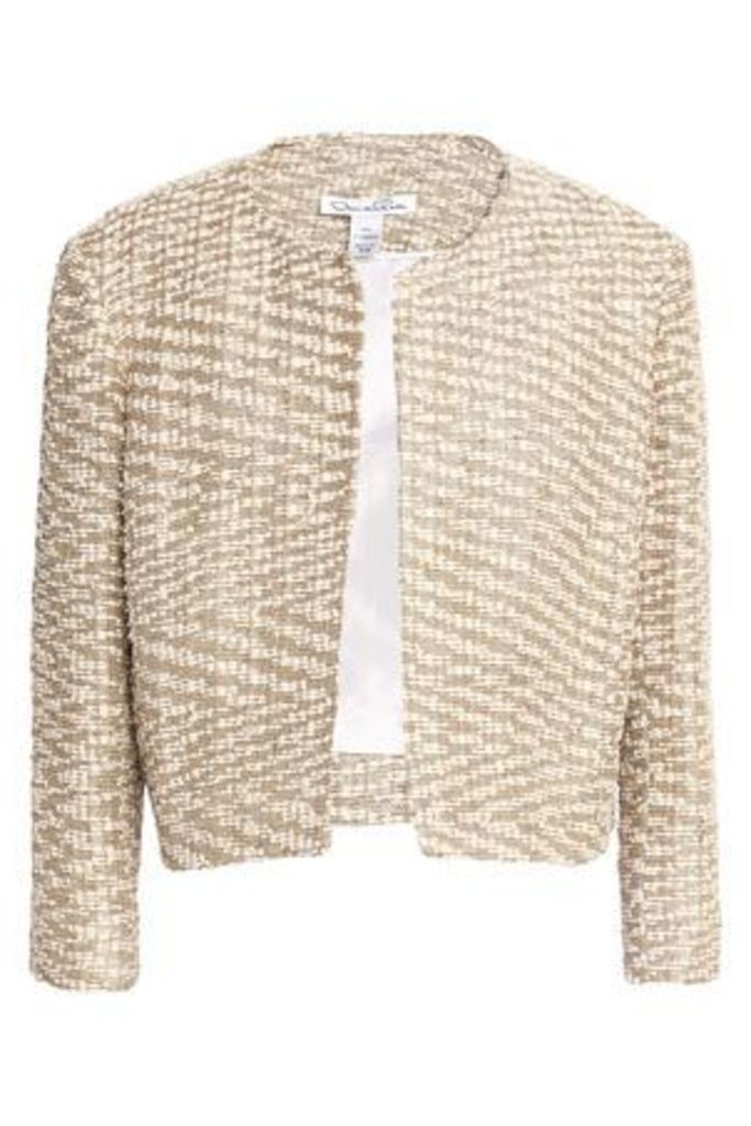Oscar De La Renta Woman Cropped Metallic Bouclé Jacket Gold Size 16