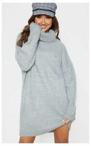 Light Grey Knitted High Neck Jumper Dress, Grey