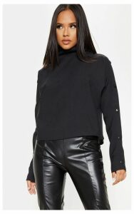 Black High Neck Button Detail Oversized Sweater, Black