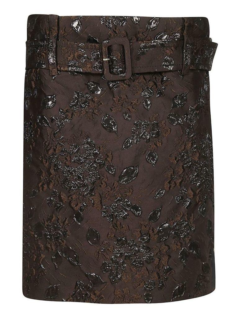 Prada Floral Embroidered Skirt