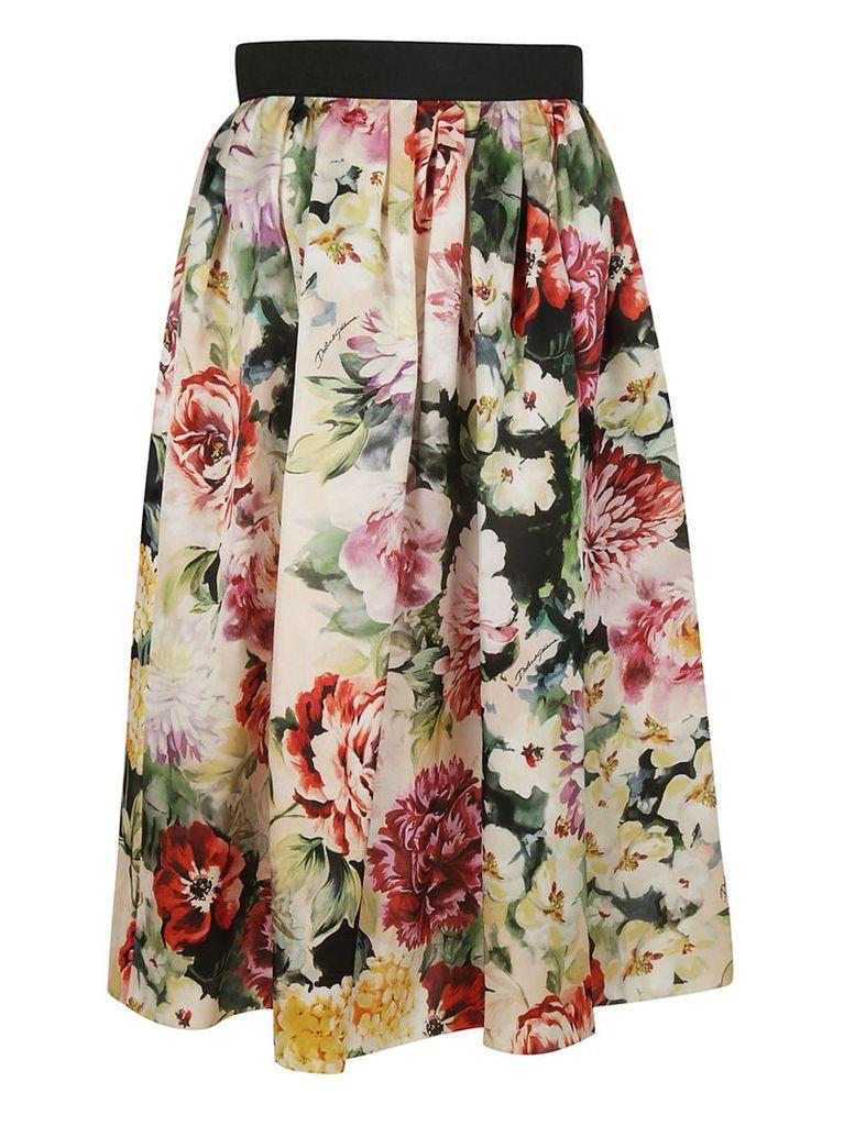 Dolce & Gabbana Organza Floral Print Skirt