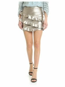 Patrizia Pepe Faux Leather Skirt With Rouches