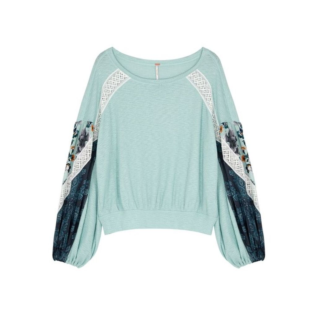 Free People Blue Lace-trimmed Fine-knit Top