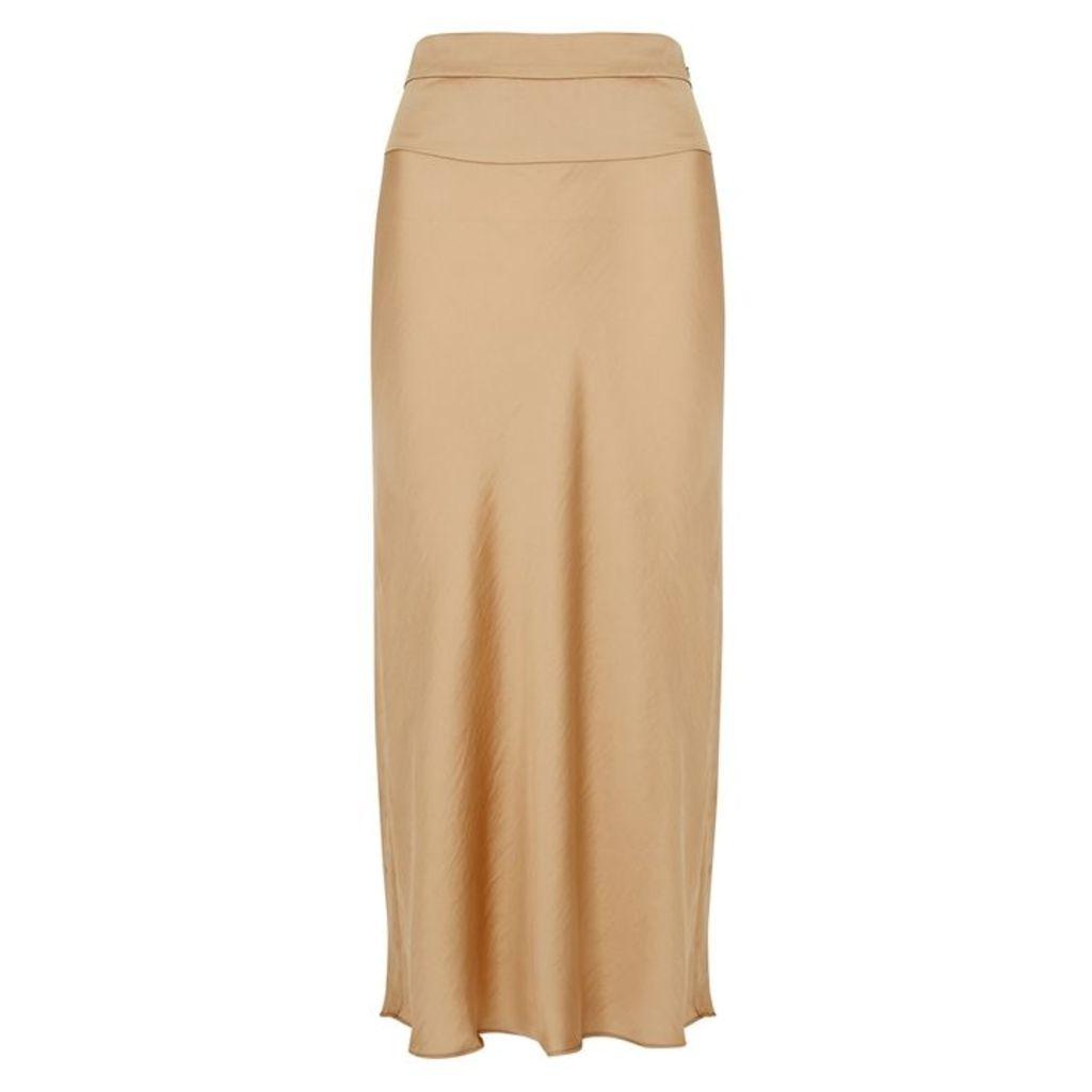Free People Normani Gold Bias-cut Midi Skirt