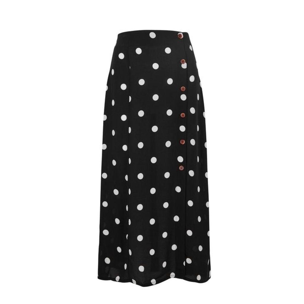 Free People Retro Lover Polka-dot Rayon Midi Skirt