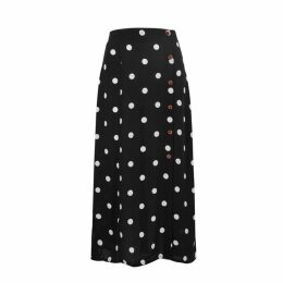Free People Retro Lover Polka-dot Rayon Midi Skirt