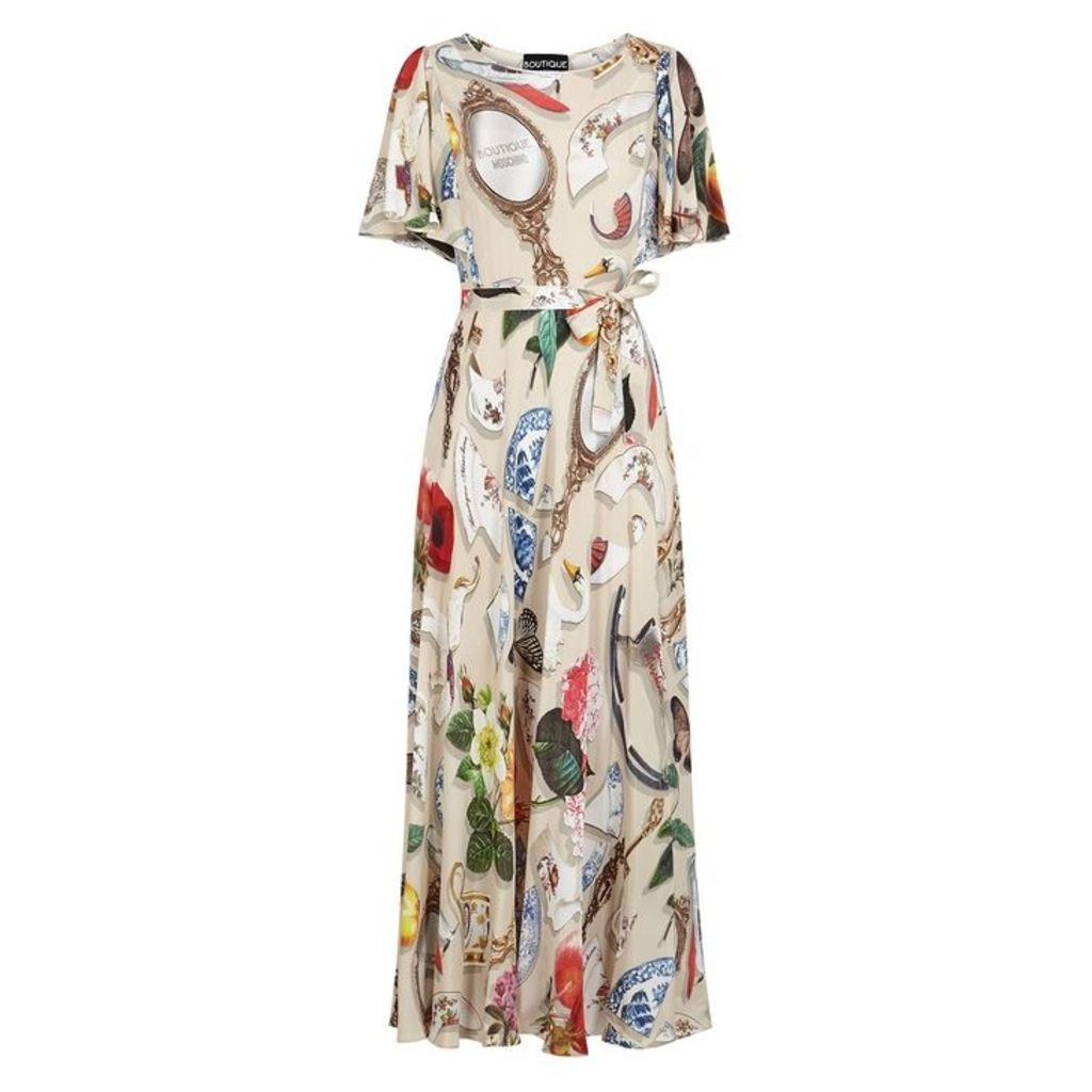 Boutique Moschino Printed Crepe De Chine Maxi Dress