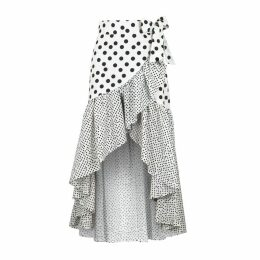 De La Vali Castana Polka-dot Cotton Skirt